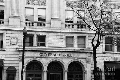 Old Ebbitt Grill Facade Black And White Poster