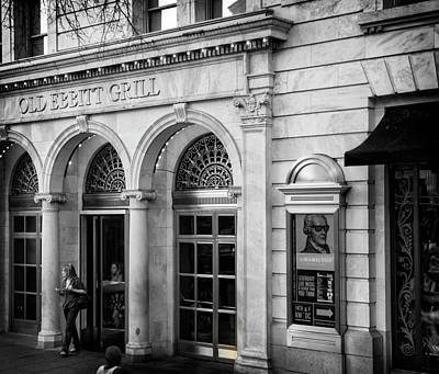 Old Ebbitt Grill In Black And White Poster by Chrystal Mimbs