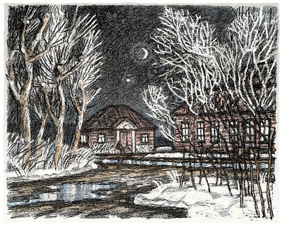 Old Europe In Stone Lithography. Frosty Night In Early Spring. Wooden Barracks On Dirt Road Poster
