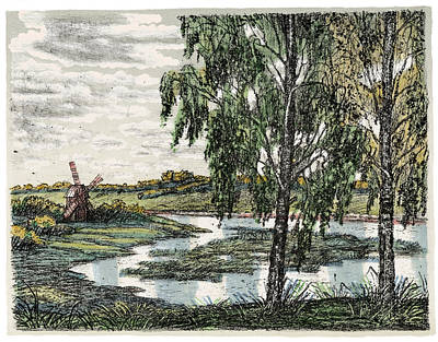Old Europe In Stone Lithography. Tall Wooden Windmill On River Bank Meadow On A Sunny Summer Day Poster
