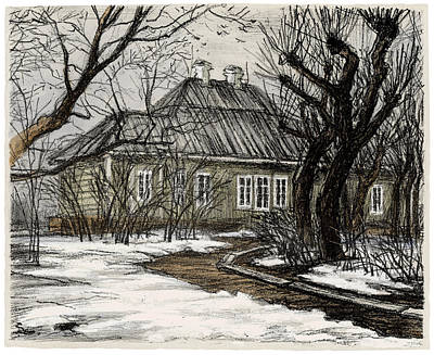 Old Europe In Stone Lithography. Wooden House And Garden With Trimmed Trees In Early Spring Poster