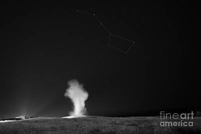 Old Faithful Night Eruption Under The Big Dipper Bw Poster