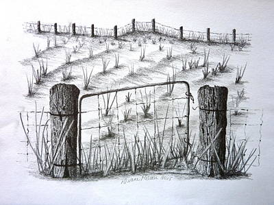Old Farm Gate And Field Poster by Diane Palmer
