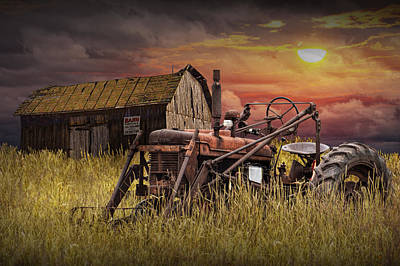 Old Farmall Tractor With Barn For Sale Poster by Randall Nyhof