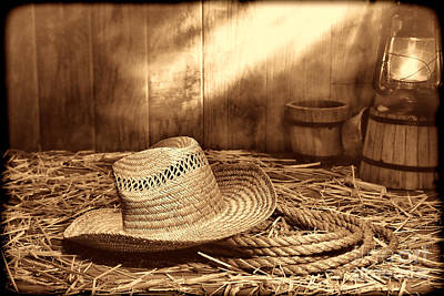 Old Farmer Hat And Rope Poster by American West Legend By Olivier Le Queinec