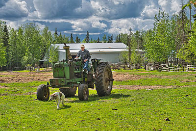 Old Farmer Old Tractor Old Dog Poster