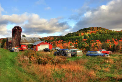 Old Farmhouse, Silo And Old Cars In Autumn Poster by Joann Vitali