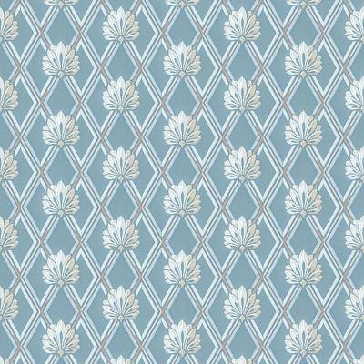 Poster featuring the digital art Old Fashioned Blue Lattice Fan Wallpaper Pattern by Tracie Kaska