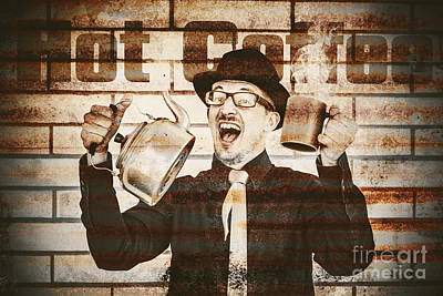 Old Fashioned Gent Cheering To Hot Coffee Poster by Jorgo Photography - Wall Art Gallery