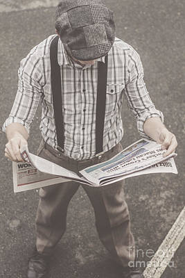 Old-fashioned Man Perusing The Latest Newspaper Poster by Jorgo Photography - Wall Art Gallery