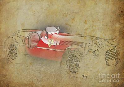 Old Ferrari Race Car, Gift For Men, Brown Background Poster