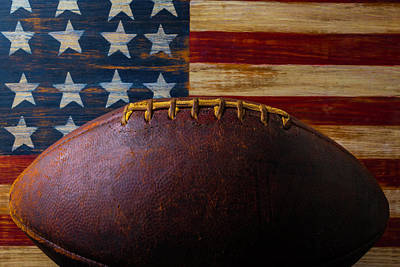 Old Football And Wood Flag Poster by Garry Gay