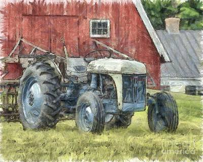 Old Ford Tractor Colored Pencil Poster