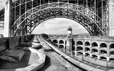 Old Fort Point Lighthouse Under The Golden Gate In Bw Poster