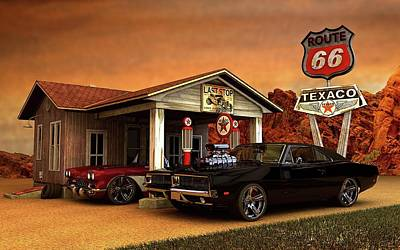 Poster featuring the photograph Old Gas Station American Muscle by Louis Ferreira