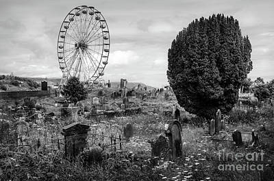 Old Glenarm Cemetery And Big Wheel Bw Poster by RicardMN Photography