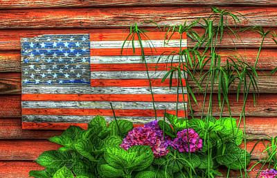 Old Glory 2 American Flag Art Poster