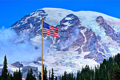 Old Glory At Mt. Rainier Poster