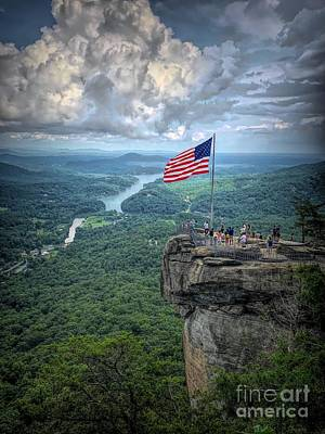 Old Glory On The Rock Poster