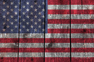 Old Glory On Wood Poster by Bruce Stanfield