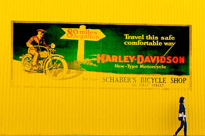 Old Harley Davidson Motorcycle Billboard On Yellow Building Poster