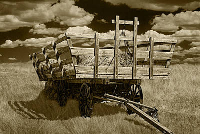 Old Hay Wagon In Sepia Poster