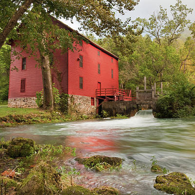 Old Historic Alley Spring Mill In Eminence Missouri Poster by Gregory Ballos