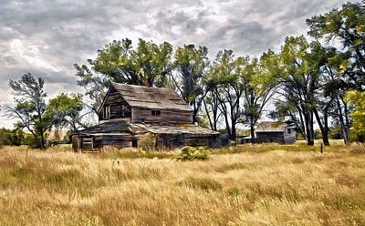 Poster featuring the digital art Old House And Barn by James Steele