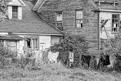Old House With Laundry Black And White Photograph Poster by Keith Webber Jr