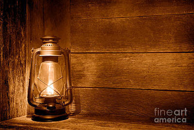 Old Kerosene Light - Sepia Poster by Olivier Le Queinec