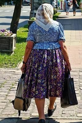 Poster featuring the photograph Old Lady Off To Work by Mariola Bitner