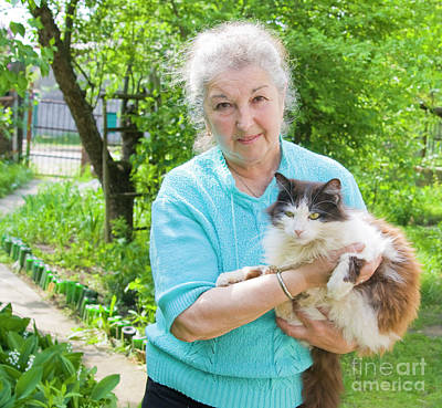 Old Lady With Cat Poster