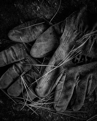 Old Leather Work Gloves Poster