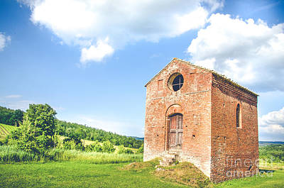 Old Little Church In Tuscany  Canvas - Tuscan Cottage Poster