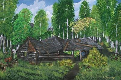 Poster featuring the painting Old Log Cabin And   Memories by Sharon Duguay