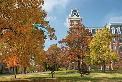 Old Main At The University Of Arkansas During Fall Poster