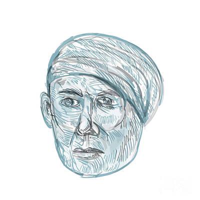 Old Man Wearing Turban Drawing Poster by Aloysius Patrimonio