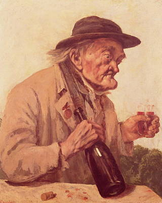 Old Man With A Glass Of Wine Poster by Gustave Courbet