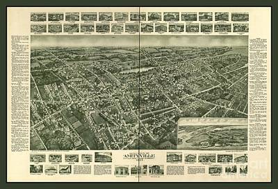 Old Map Of Amityville New York Poster