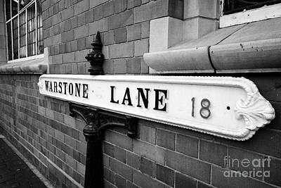 old metal victorian sign for warstone lane jewellery quarter Birmingham UK Poster