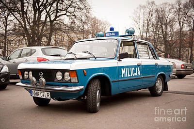 Old Militia Blue Car View Poster
