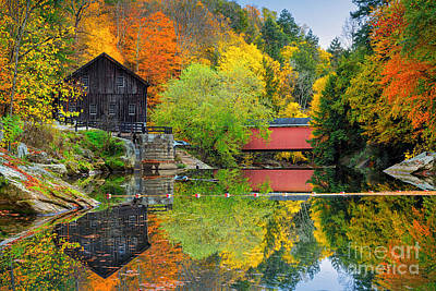 Old Mill In The Fall  Poster