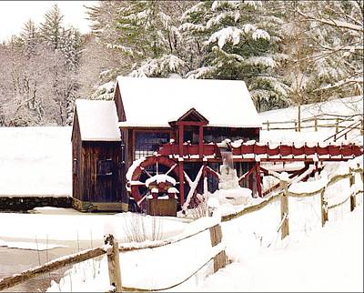 Old Mill In Winter Poster