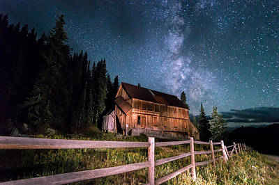 Old Mining Camp Under Milky Way Poster