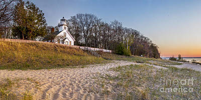 Old Mission Peninsula Lighthouse And Shore Poster by Twenty Two North Photography
