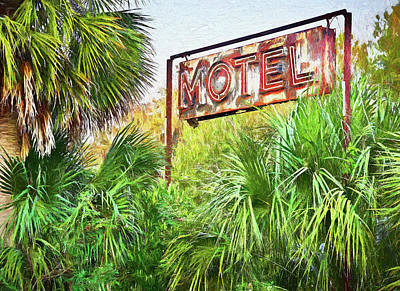 Old Motel Sign - Artistic Impression Poster by Bill Chambers