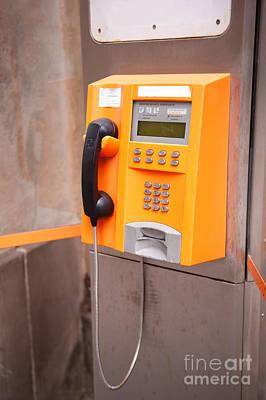 Old Orange Telephone Kiosk Poster