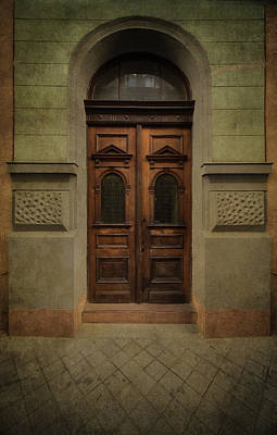 Old Ornamented Wooden Gate In Brown Tones Poster