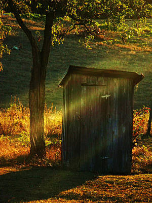 Old Outhouse At Sunset Poster