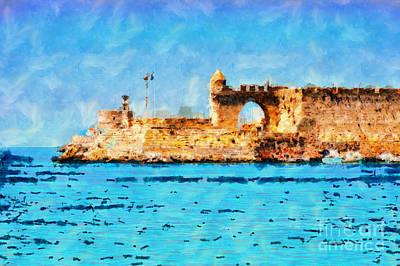 Old Pier In Rhodes Poster by Magomed Magomedagaev